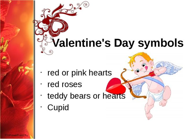 Valentine's Day symbols red or pink hearts red roses teddy bears or hearts Cu...