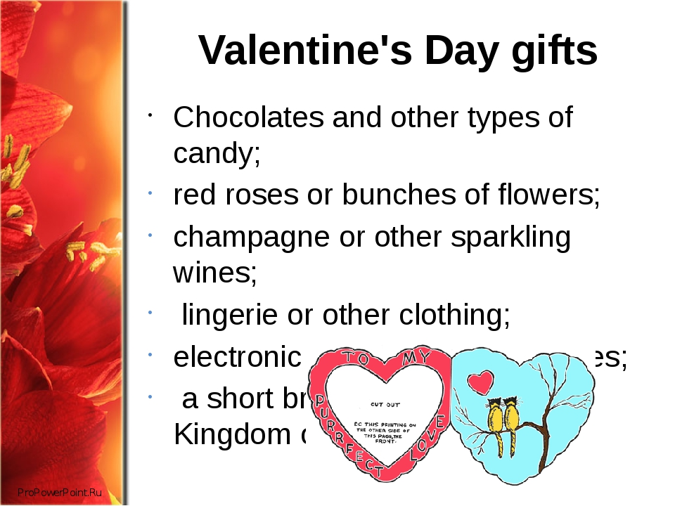 Valentine's Day gifts Chocolates and other types of candy; red roses or bunch...