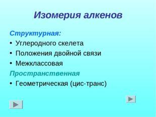 Изомерия алкенов Структурная: Углеродного скелета Положения двойной связи Меж