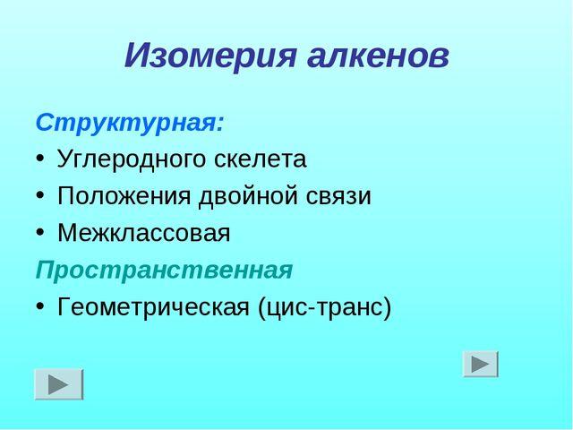 Изомерия алкенов Структурная: Углеродного скелета Положения двойной связи Меж...