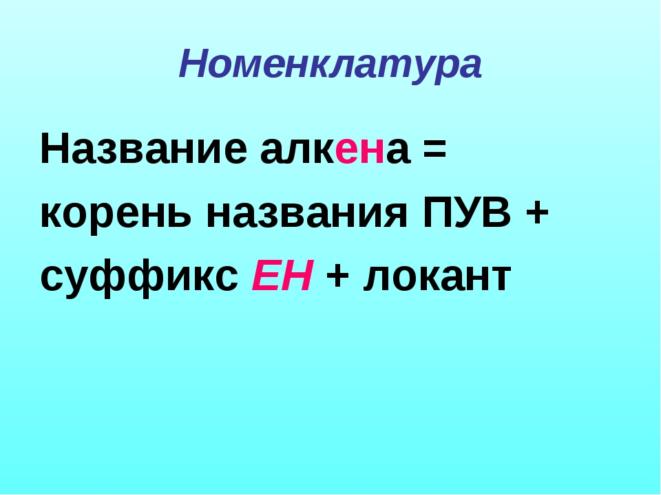 Номенклатура Название алкена = корень названия ПУВ + суффикс ЕН + локант