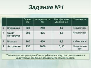 Задание №1 Увлажнение территории России убывает к югу, т.к. уменьшается колич