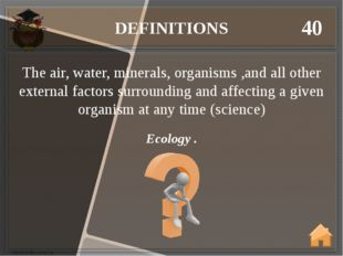 DEFINITIONS 40 Ecology . The air, water, minerals, organisms ,and all other e