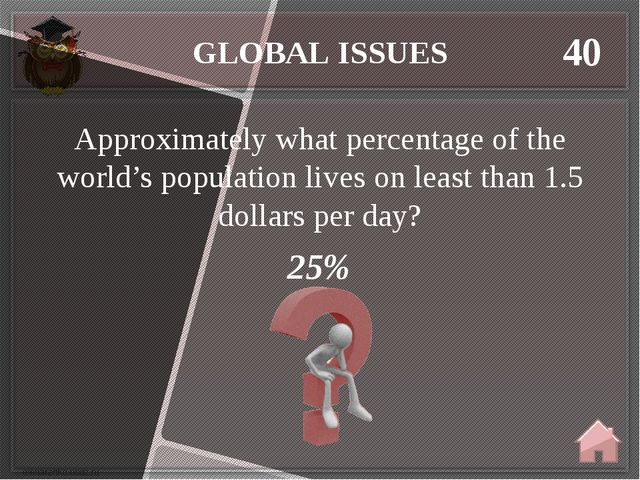 GLOBAL ISSUES 40 25% Approximately what percentage of the world's population...