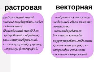 растровая универсальный метод (можно закодировать любое изображение); единств