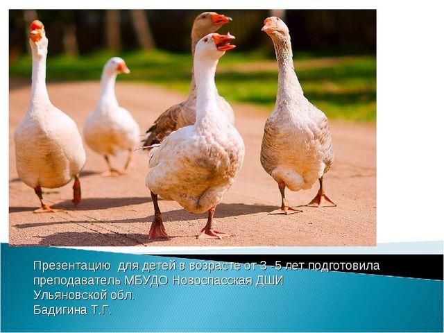 Презентацию для детей в возрасте от 3 -5 лет подготовила преподаватель МБУДО...