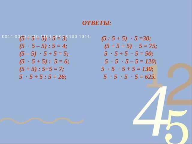 ОТВЕТЫ: (5 + 5 + 5) : 5 = 3; (5 : 5 + 5)  5 =30; (5  5 – 5) : 5 = 4; (5 + 5...