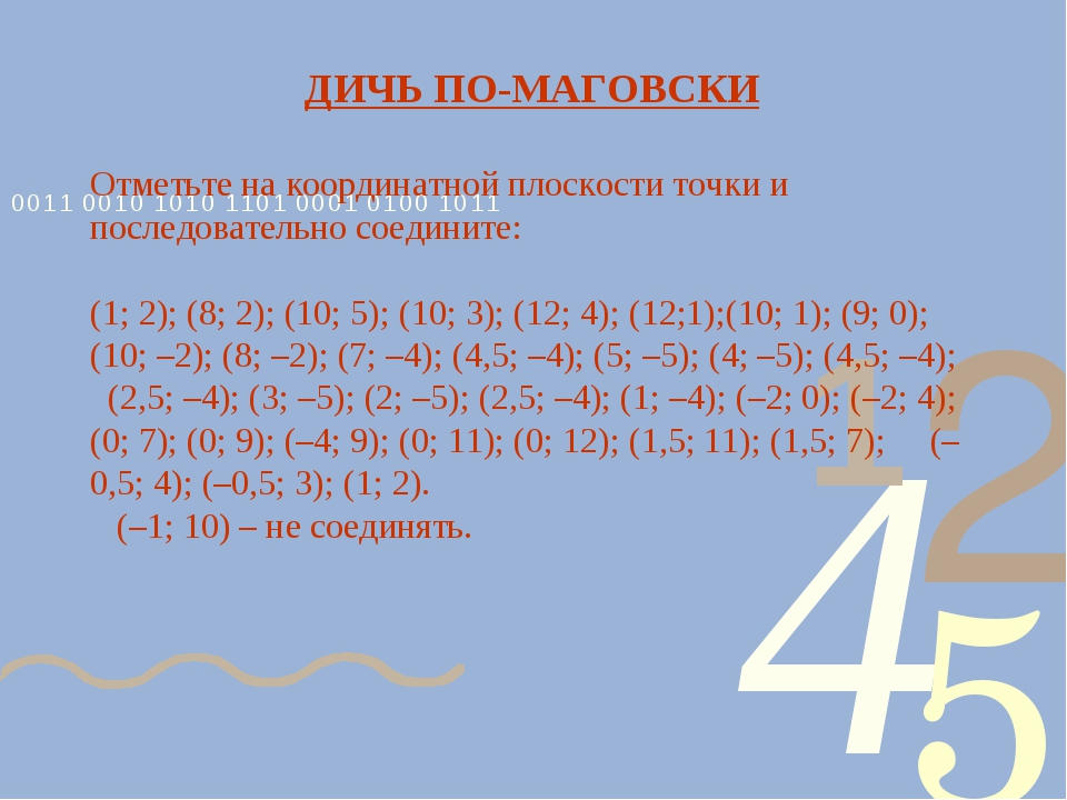 ДИЧЬ ПО-МАГОВСКИ Отметьте на координатной плоскости точки и последовательно с...