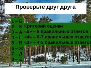 Проверьте друг друга 1 – Б 2 – З 3 – А 4 – Г 5 – В 6 – Ж 7 – Д 8 - Е Критерий