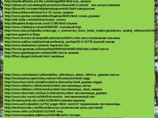 Использовались ресурсы: http://medicalherbs.sci-lib.com/image058.html ель, ши