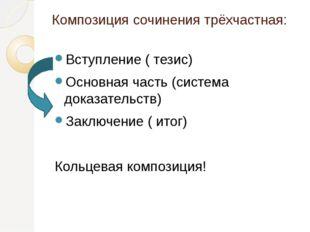 Композиция сочинения трёхчастная: Вступление ( тезис) Основная часть (система