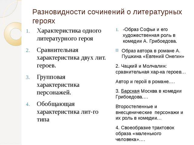 Разновидности сочинений о литературных героях Характеристика одного литератур...