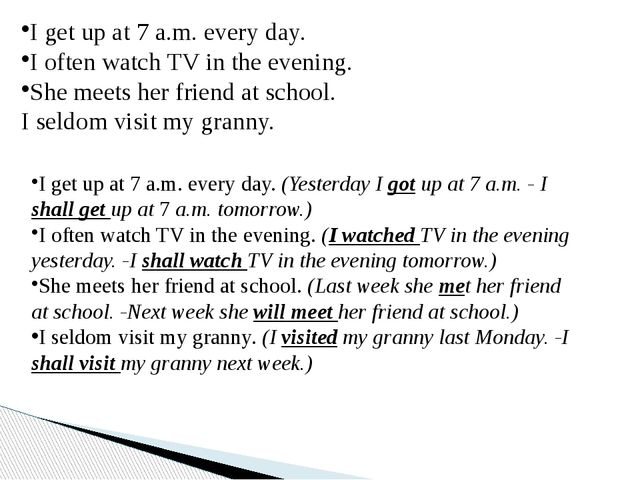 I get up at 7 a.m. every day. I often watch TV in the evening. She meets her...