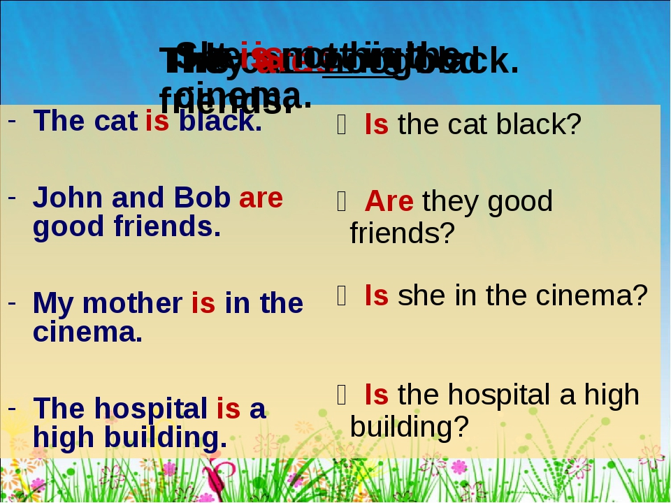 The cat is black. John and Bob are good friends. My mother is in the cinema....