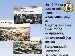 На 1796 год в состав гебернии входили следующиеуезды: Ардатовский(уездный г