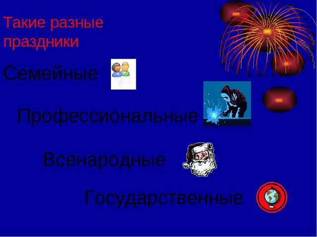 Такие разные праздники Семейные Профессиональные Всенародные Государственные