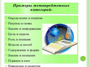 Примеры метапредметных категорий: Определение и понятие Рисунок и схема Знани