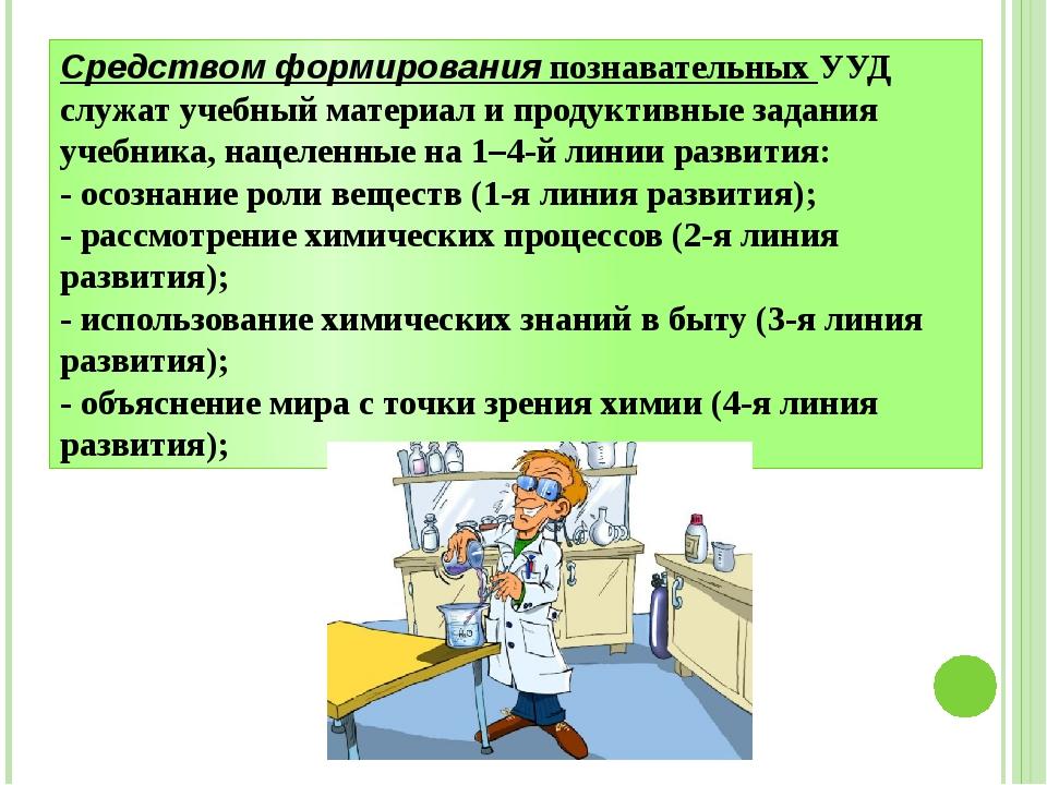 Средством формирования познавательных УУД служат учебный материал и продуктив...