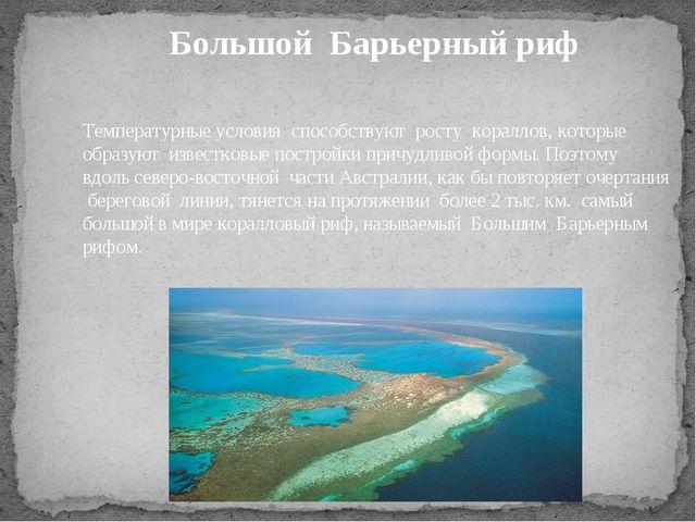 Температурные условия способствуют росту кораллов, которые образуют известков...