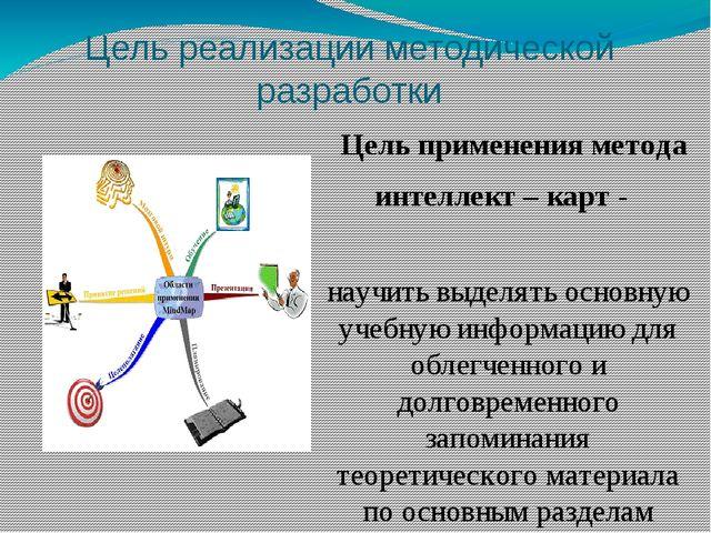 Цель реализации методической разработки Цель применения метода интеллект – ка...