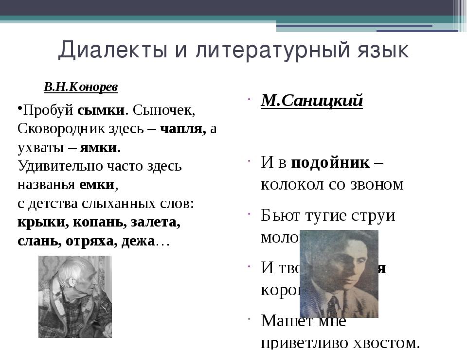 Диалекты и литературный язык М.Саницкий И в подойник – колокол со звоном Бьют...