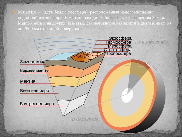 Ма́нтия— частьЗемли(геосфера), расположенная непосредственно подкоройи в...