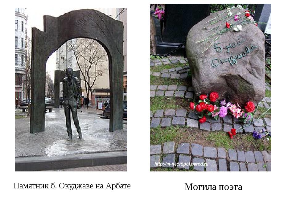 Памятник б. Окуджаве на Арбате Могила поэта