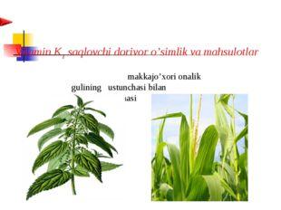 Vitamin K1 saqlovchi dorivor o'simlik va mahsulotlar  makkajo'xori