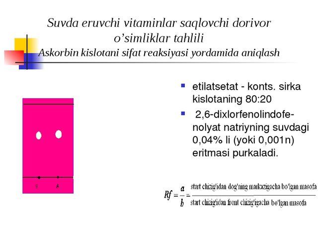 Suvda eruvchi vitaminlar saqlovchi dorivor o'simliklar tahlili Askorbin kisl...