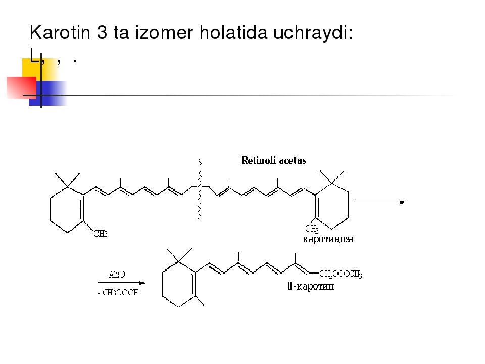 Karotin 3 ta izomer holatida uchraydi: L,β,γ.