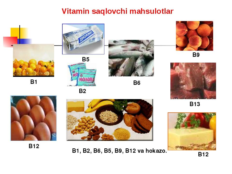 B1 B13 B12 B12 B9 B5 B6 В1, В2, В6, В5, В9, В12 va hokazo. B2 Vitamin saqlovc...