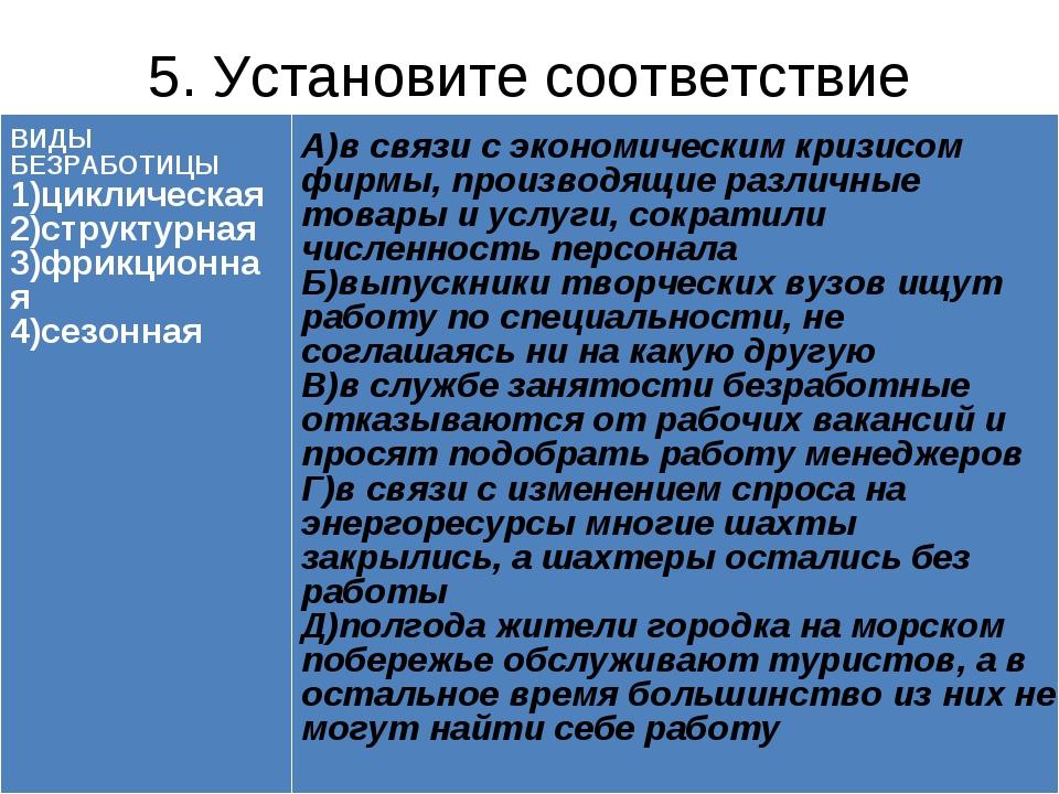 5. Установите соответствие ВИДЫ БЕЗРАБОТИЦЫ 1)циклическая 2)структурная 3)фри...