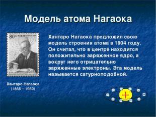 Модель атома Нагаока ХантароНагаока (1865 – 1950) Хантаро Нагаока предложил