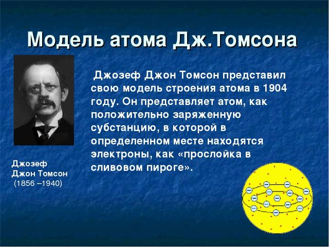 Модель атома Дж.Томсона Джозеф Джон Томсон (1856 –1940) Джозеф Джон Томсон пр...