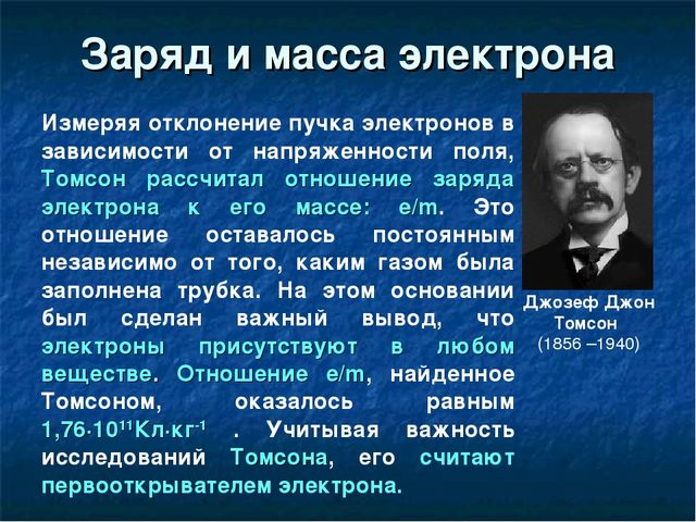 Джозеф Джон Томсон (1856 –1940) Заряд и масса электрона Измеряя отклонение п...