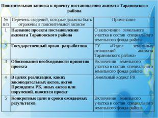 Пояснительная записка к проекту постановления акимата Тарановского района № п