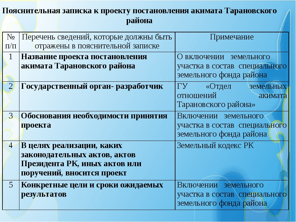 Пояснительная записка к проекту постановления акимата Тарановского района № п...