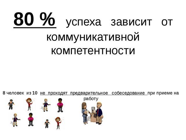 80 % успеха зависит от коммуникативной компетентности 8 человек из 10 не прох...