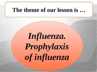 The theme of our lesson is … Influenza. Prophylaxis of influenza