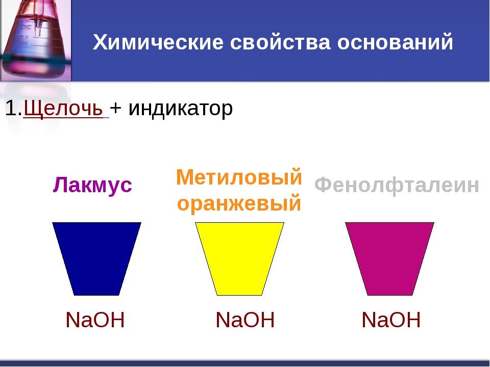 Химические свойства оснований 1.Щелочь + индикатор Лакмус Метиловый оранжевый...