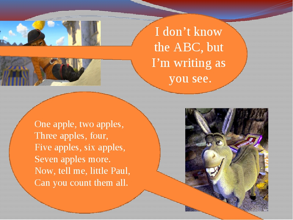 I don't know the ABC, but I'm writing as you see. One apple, two apples, Thre...