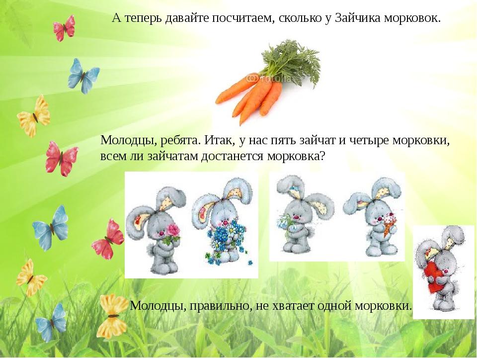 А теперь давайте посчитаем, сколько у Зайчика морковок. Молодцы, ребята. Итак...