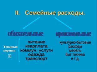 """II. Семейные расходы. Товарная корзина Тема """"Основы денежного механизма. Банк"""