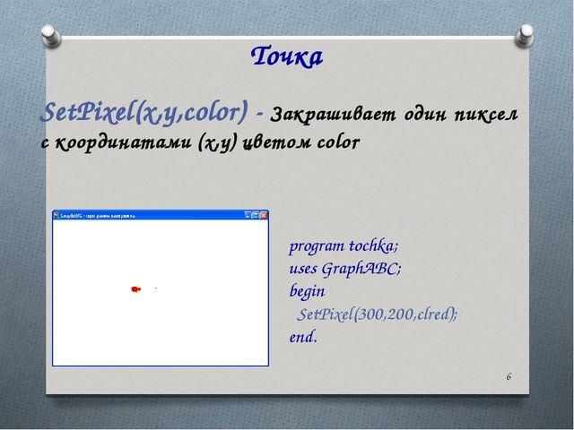 * Точка SetPixel(x,y,color) - Закрашивает один пиксел с координатами (x,y) цв...