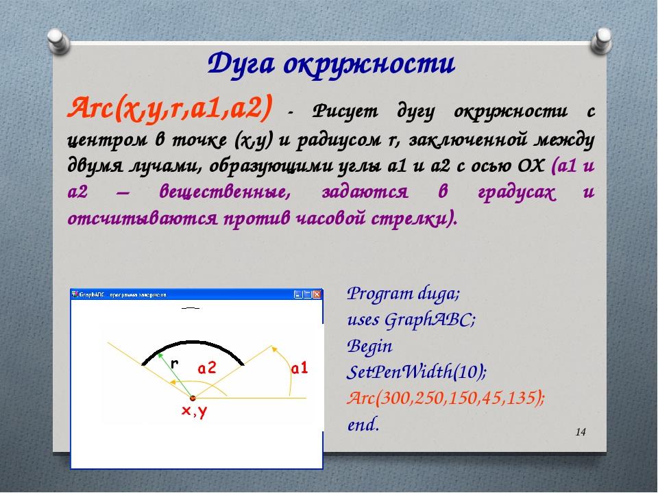 * Дуга окружности Arc(x,y,r,a1,a2) - Рисует дугу окружности с центром в точке...