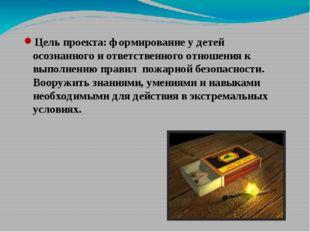 Цель проекта: формирование у детей осознанного и ответственного отношения к в