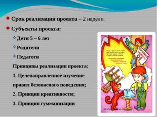 Срок реализации проекта – 2 недели Субъекты проекта: Дети 5 – 6 лет Родители