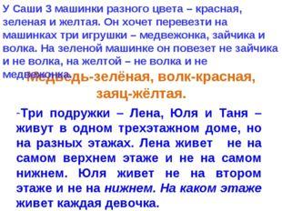 Медведь-зелёная, волк-красная, заяц-жёлтая. Три подружки – Лена, Юля и Таня