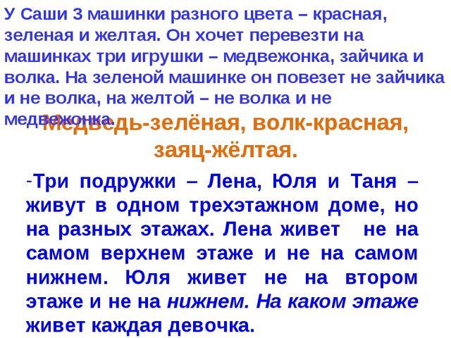 Медведь-зелёная, волк-красная, заяц-жёлтая. Три подружки – Лена, Юля и Таня...