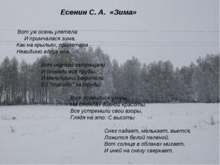 Есенин С. А. «Зима» Вот уж осень улетела И примчалася зима. Как на крыльях,